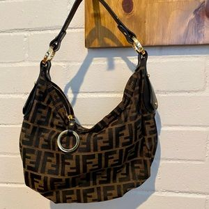 Fendi brown and black signature hobo purse